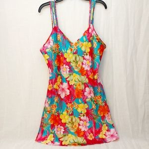 Multi color Hawaiian floral night gown size large
